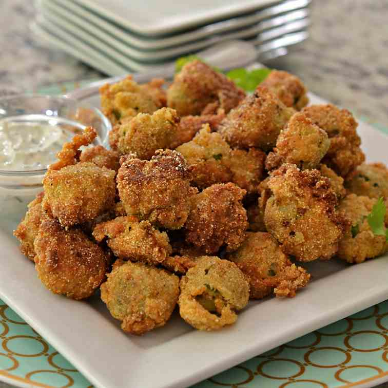 Fried Okra with Jalapeno Yogurt Sauce