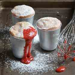 Rhubarb and strawberry souffle