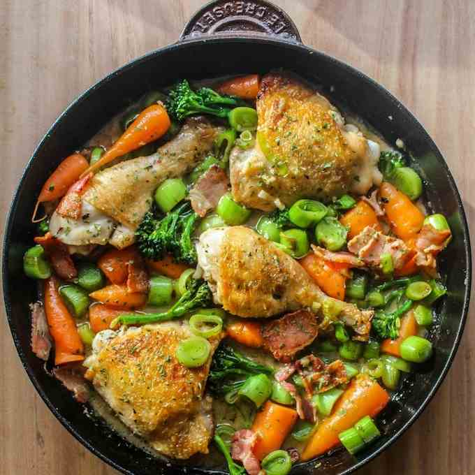White wine braised chicken