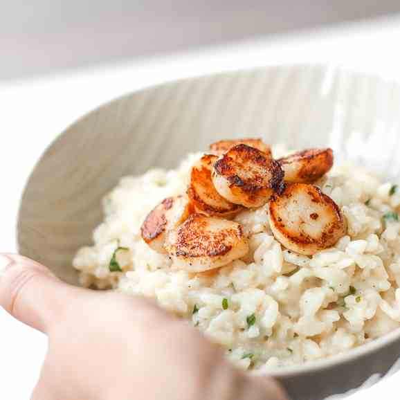 Creamy Parmesan Risotto with Scallops