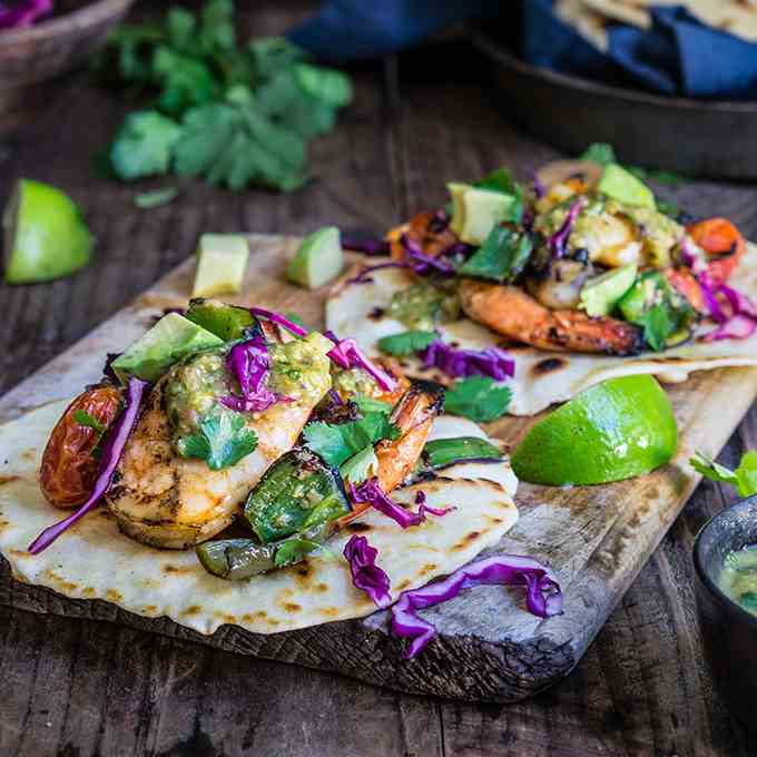 Grilled shrimp tacos with tomatillo salsa