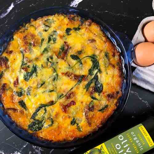 Sun-Dried Tomato Frittata with Baby Kale