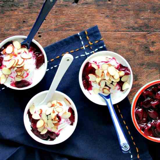 Frozen Yogurt with Cherry Compote