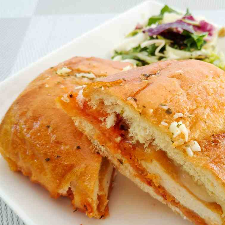 Chicken Marinara Stuffed Garlic Sandwich