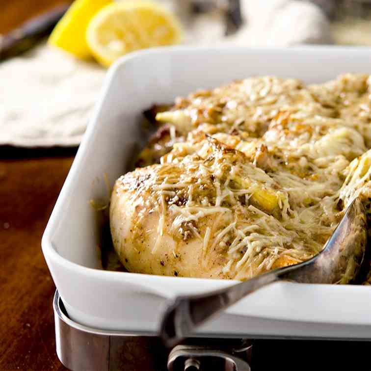 Creamy Lemon Artichoke Chicken Bake