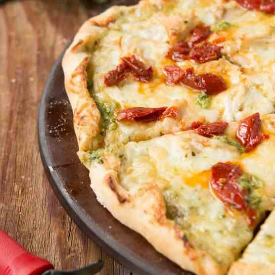 Creamy Pesto Chicken Pizza
