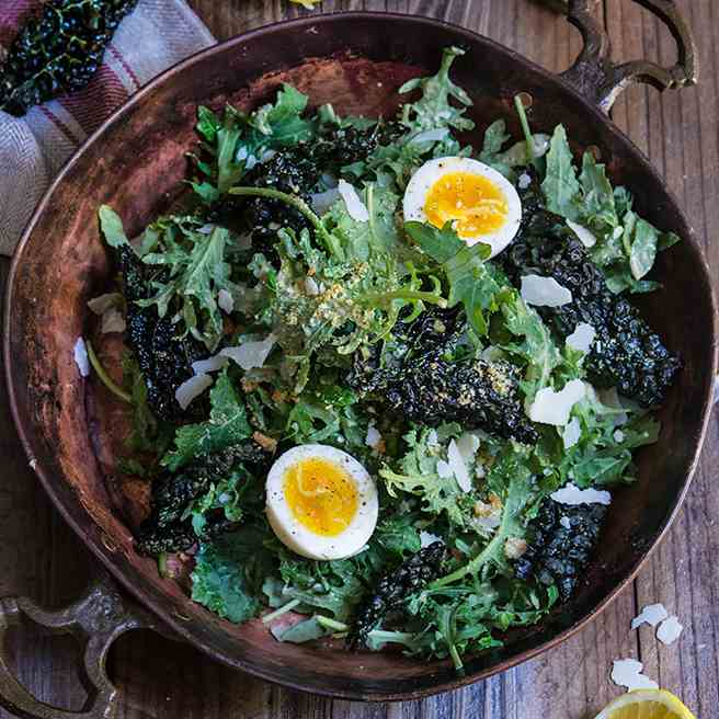 Kale salad with low fat Caesar dressing