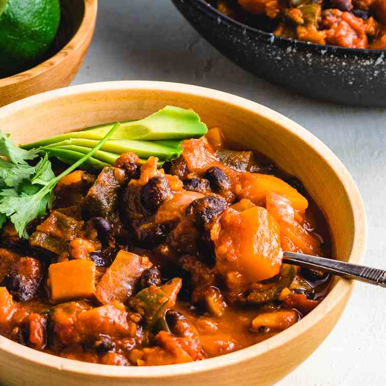 Roasted poblano and butternut squash chili