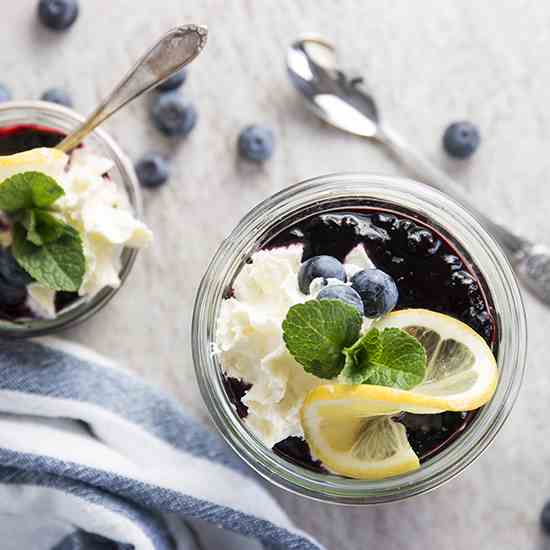 Lemon Blueberry No Bake Cheesecakes