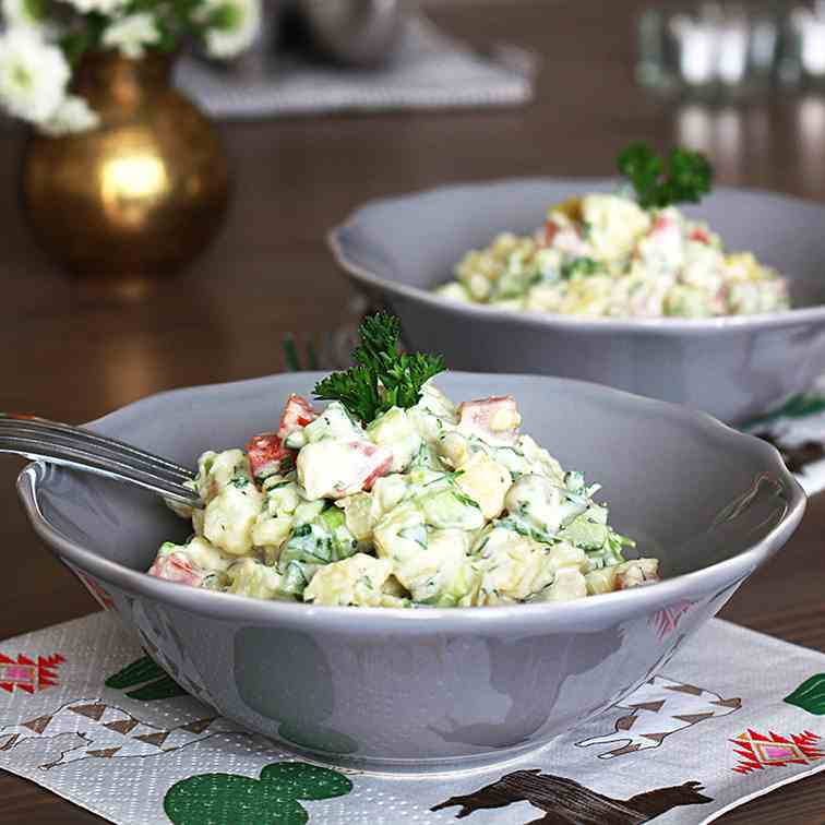 Russian Potato Salad -Vegan Olivye-