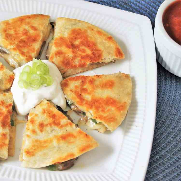Buttery Mushroom and Jalapeno Quesadillas