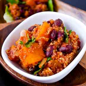 Butternut squash chilli with quinoa