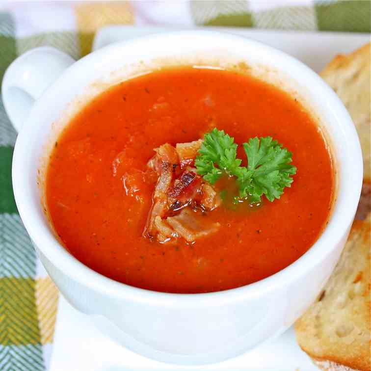 Silky Tomato Soup with Bacon