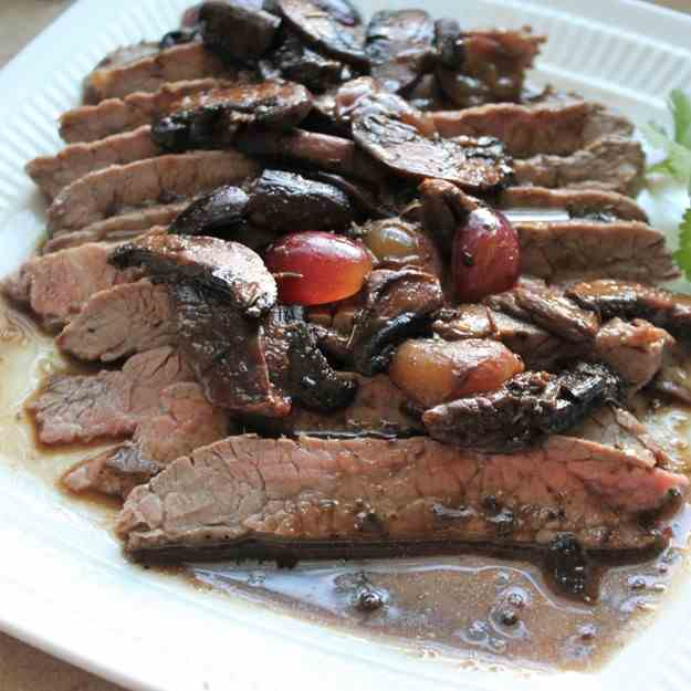 Flank Steak with Grapes and Mushrooms
