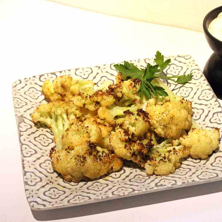 Roasted Cauliflower with Cheese Dip