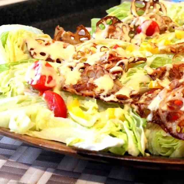 Iceberg Salad Wedges with Lotus Chips