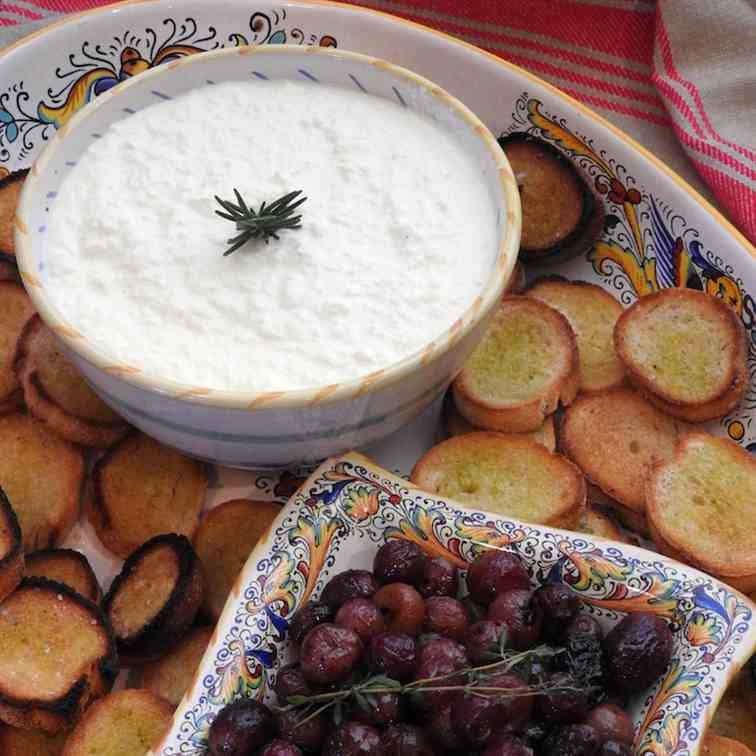 Homemade Ricotta and Thyme Roasted Grapes