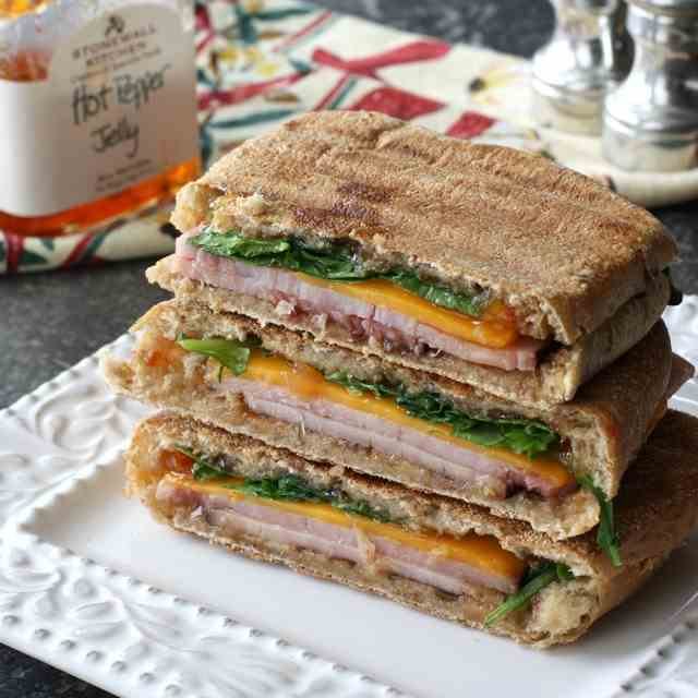 Panini with Ham, Cheddar & Pepper Jelly
