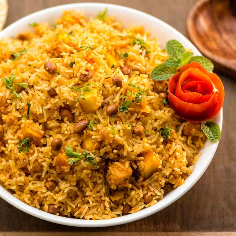 Tomato Pulao with Paneer