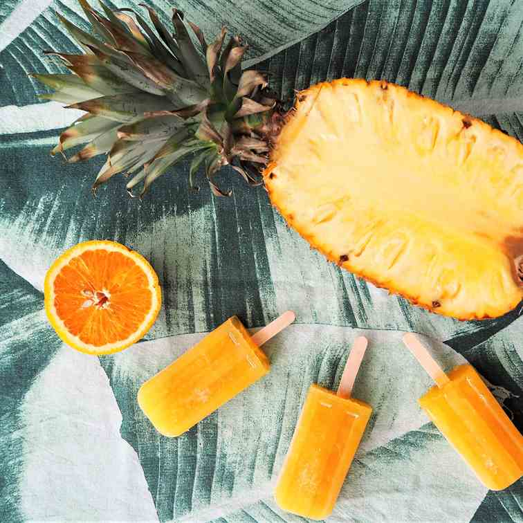 Pineapple orange and ginger popsicles