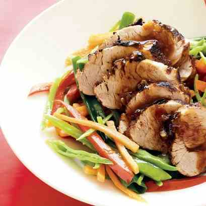 Chinese roasted pork with stir-fried veget