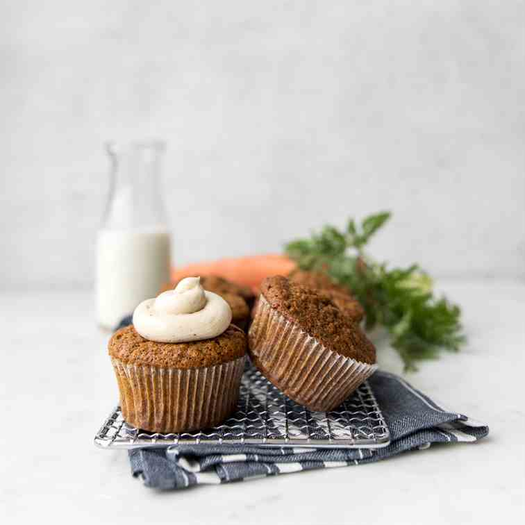 Carrot Cake Muffins with Brown Buttercream