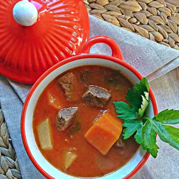 Beef Soup with carrots, potatoes and celer