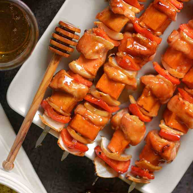 Honey Sriracha Skewers