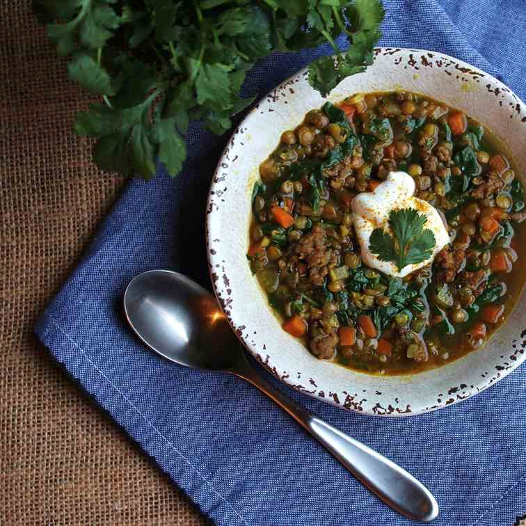 Curried Lentil and Chard Soup