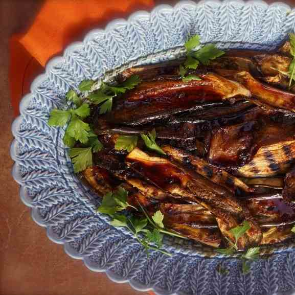 Grilled Eggplant with Honey and Harissa