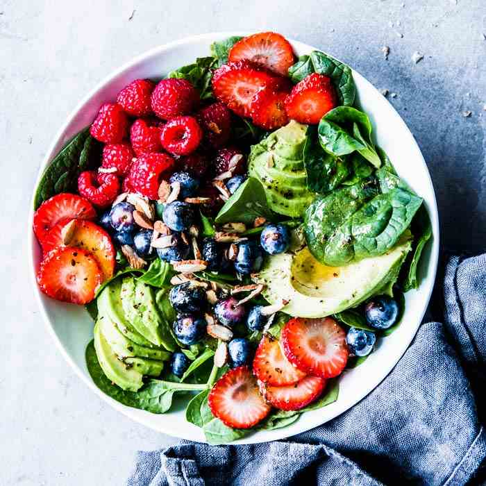 Spinach Avocado Salad with Berries