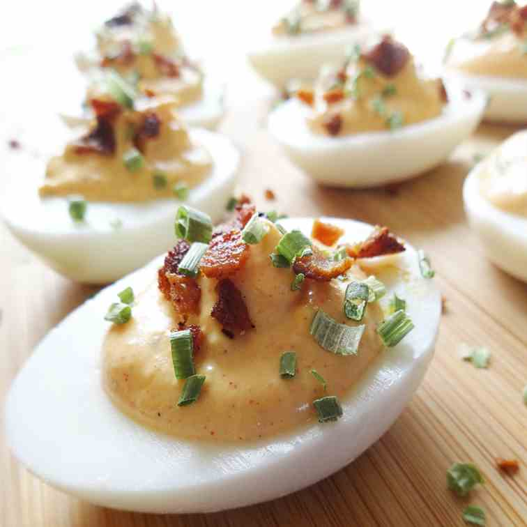 Southern Deviled Eggs w- Bacon