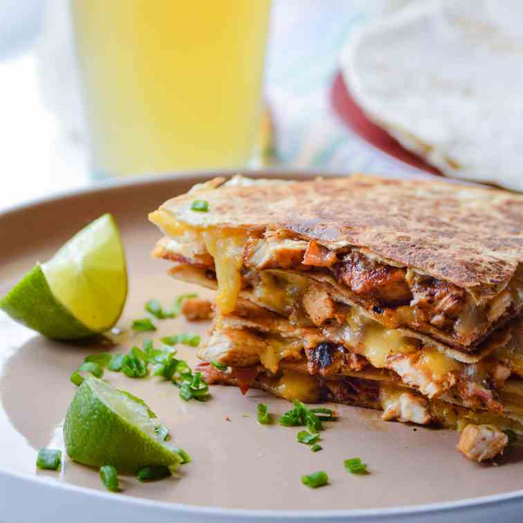 Lime Chicken Quesadillas with Bacon
