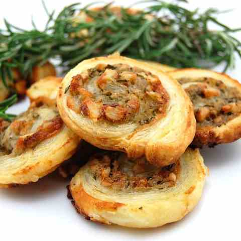 Roquefort and Walnut Puff Pastry Rolls