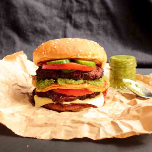 Double Beef Burgers with Green Chutney