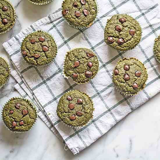 Green Smoothie Chocolate Chip Muffins