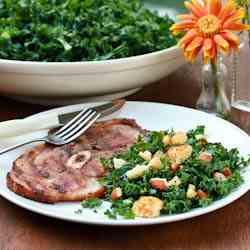 Grilled Ham Steaks with Southern Kale Sala