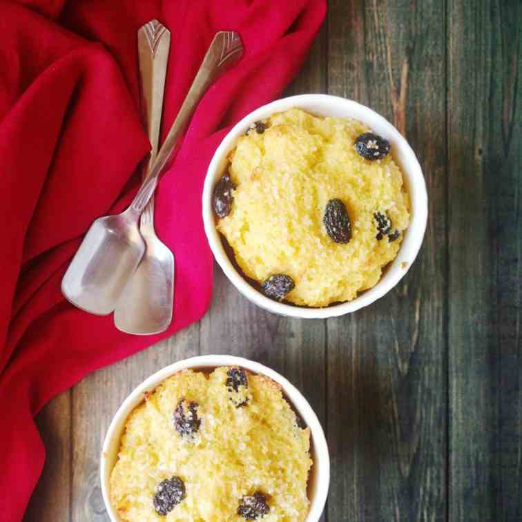 Rum and raisin bread pudding for two