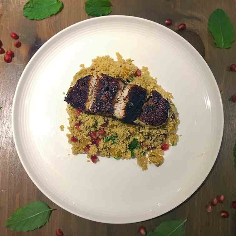 Pomegranate Couscous and Moroccan Pork