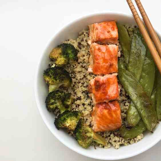 Sweet and sour salmon with quinoa salad