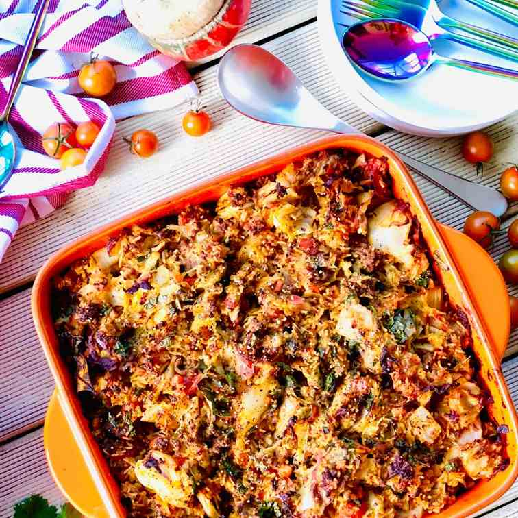 Cabbage casserole with beef mince