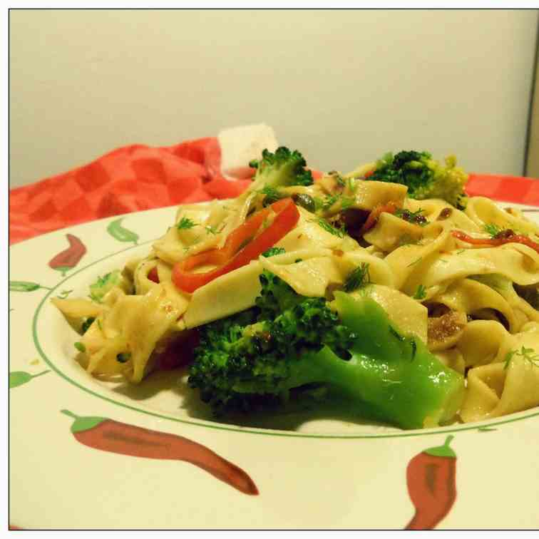Broccoli and Anchovies Tagliatelle