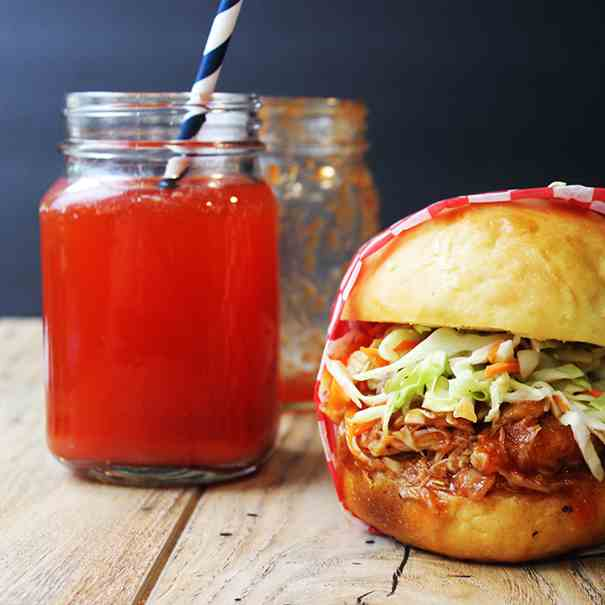 BBQ Pulled Chicken Sandwich with Slaw