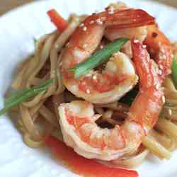 Spicy Prawns with Ginger Peanut Noodles