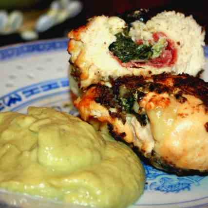 Stuffed Chicken Breasts with veg Puree