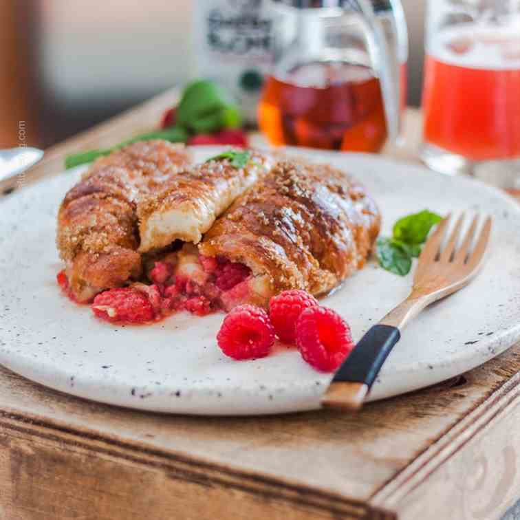 Raspberries Stuffed Croissant French Toast