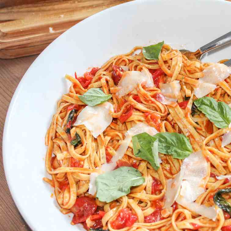 Linguine with Tomatoes, Basil - Parm
