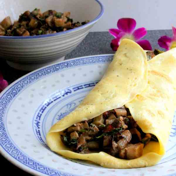 Swiss Pancakes with Mushrooms and Eggplant