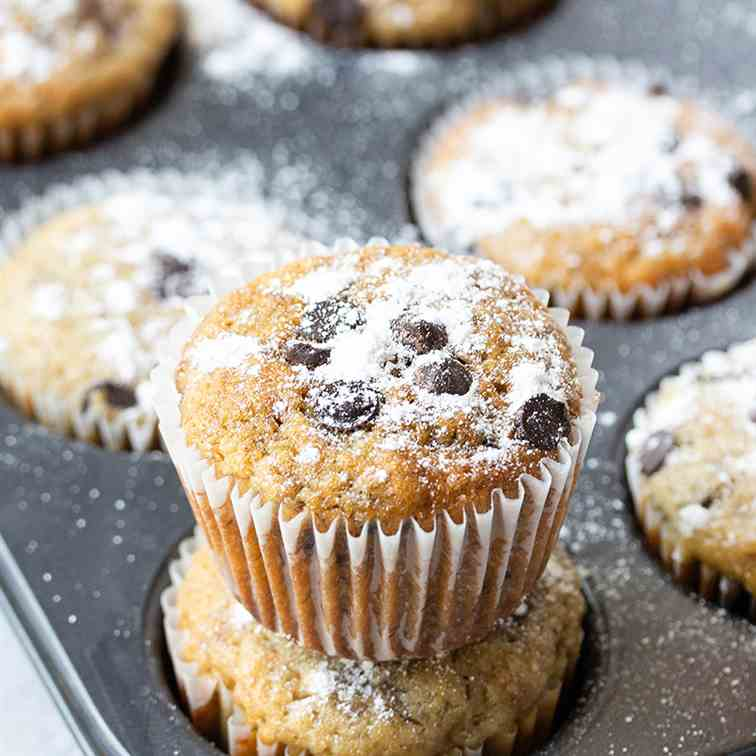 Easy Chocolate Chip Banana Muffins