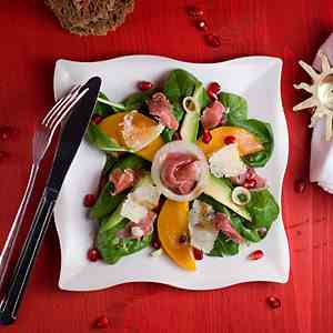 Persimmon, Avocado and Serrano Ham Salad
